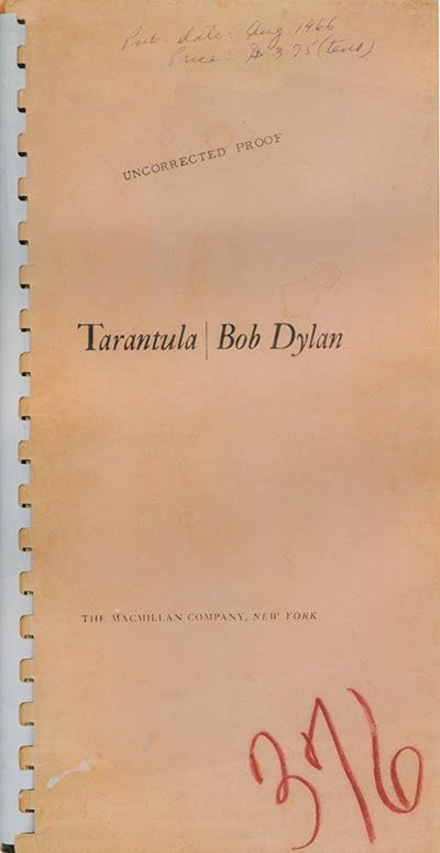 tarantula first edition Bob Dylan book uncorrected proof