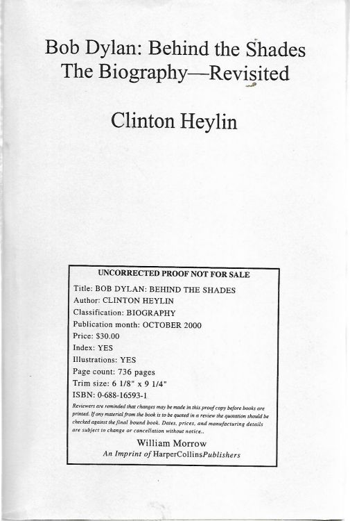 behind the shades clinton heylin revisited proof Bob Dylan book