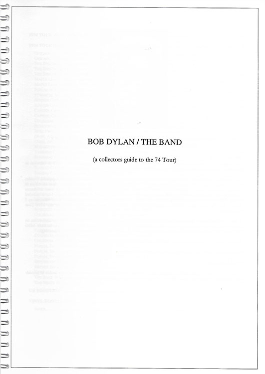 Bob Dylan the band 1974 les kokay book