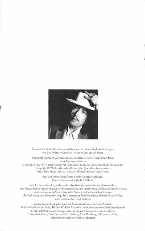 chronicles supplement back bob dylan book in German