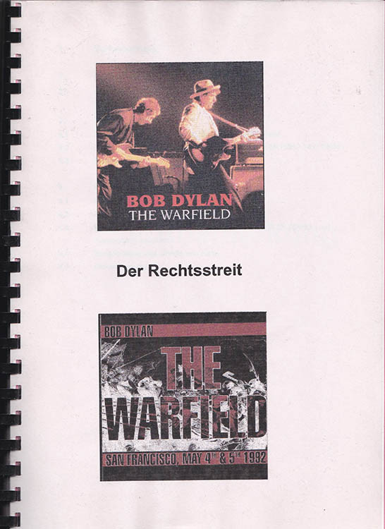 der rechtsstreit bob dylan book in German