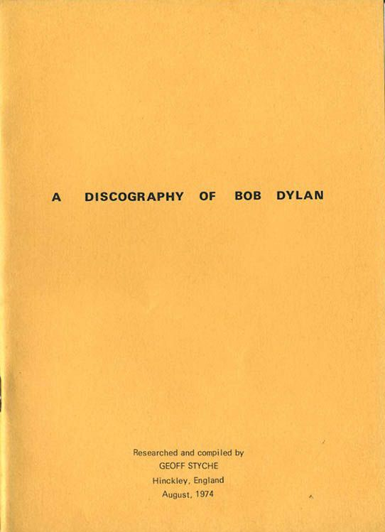 discography of Bob Dylan 1974 book