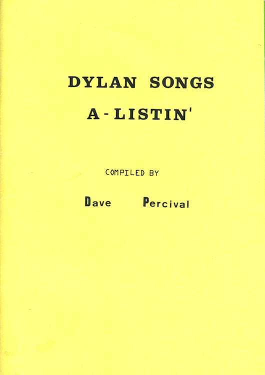 Dylan songs a listing by Dave Percival book
