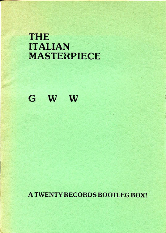 the italian masterpiece gww a twenty record bootleg box Bob Dylan book