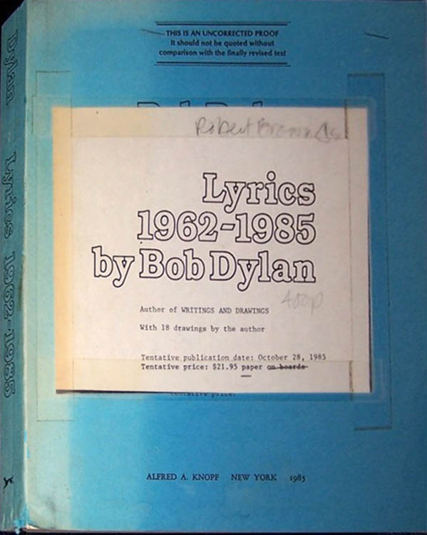lyrics 1962-1985 proof Bob Dylan book