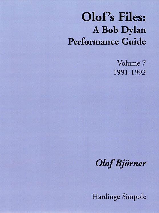 olof's files 1991-1992 Bob Dylan book