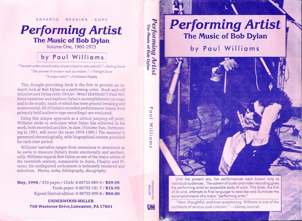 bob dylan performing artist paul williams advanced reading copy