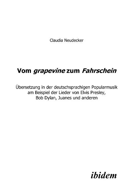 vom grapevine through fahrschein book in German