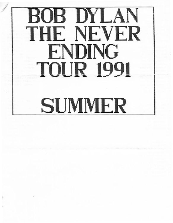 bob Dylan newsletter summer 91 Fanzine