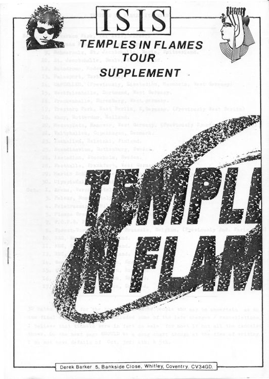 isis temple in flames supplement bob Dylan Fanzine