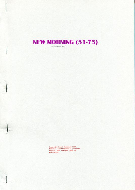 new morning porin 51-75 Dylan book in Finnish