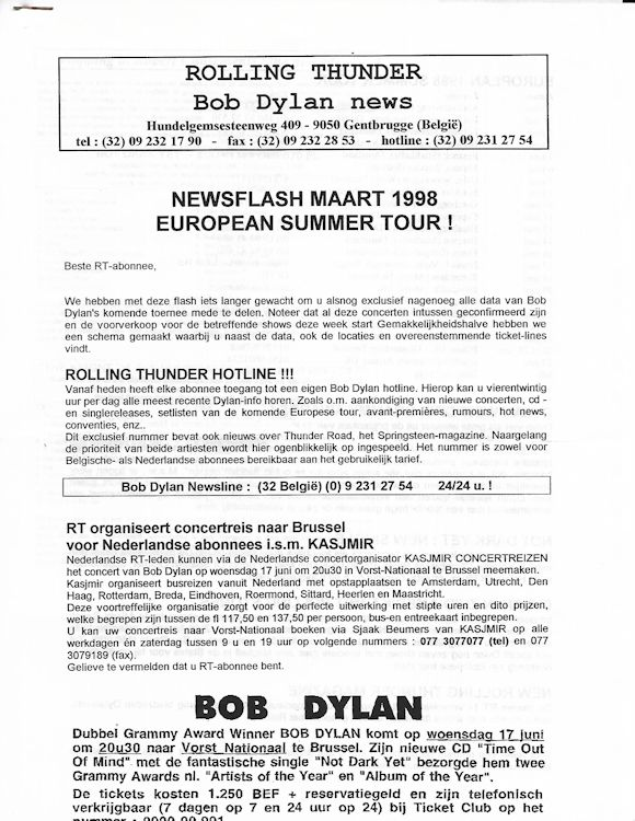rolling thunder news flash 03 1998 bob Dylan Fanzine