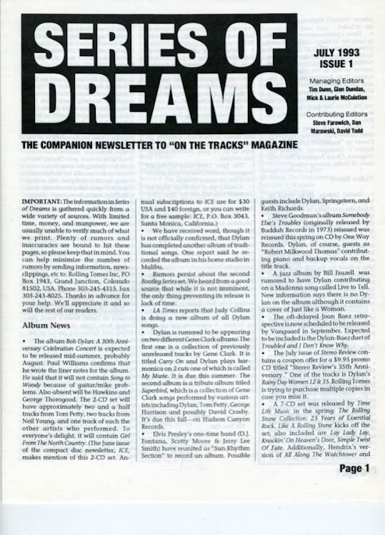 series of dreams #1 bob Dylan newsletter