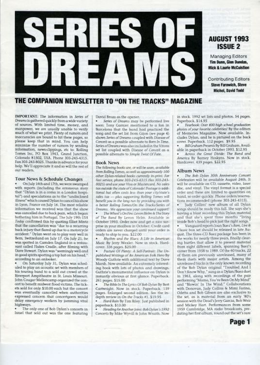 series of dreams #2 bob Dylan newsletter