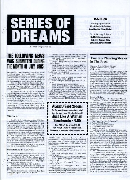 series of dreams #25 bob Dylan newsletter