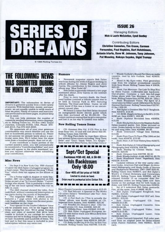 series of dreams #26 bob Dylan newsletter