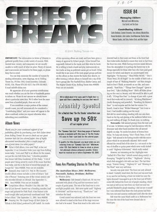 series of dreams #84 bob Dylan newsletter