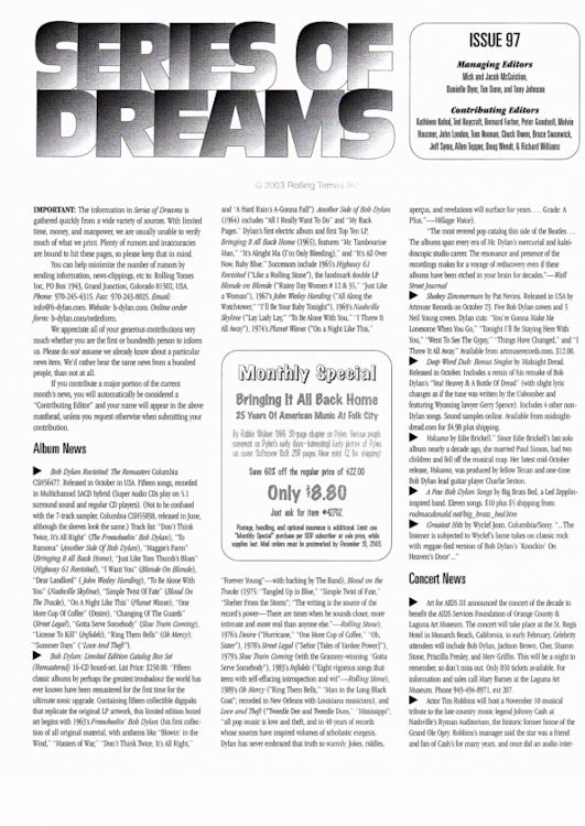 series of dreams #97 bob Dylan newsletter