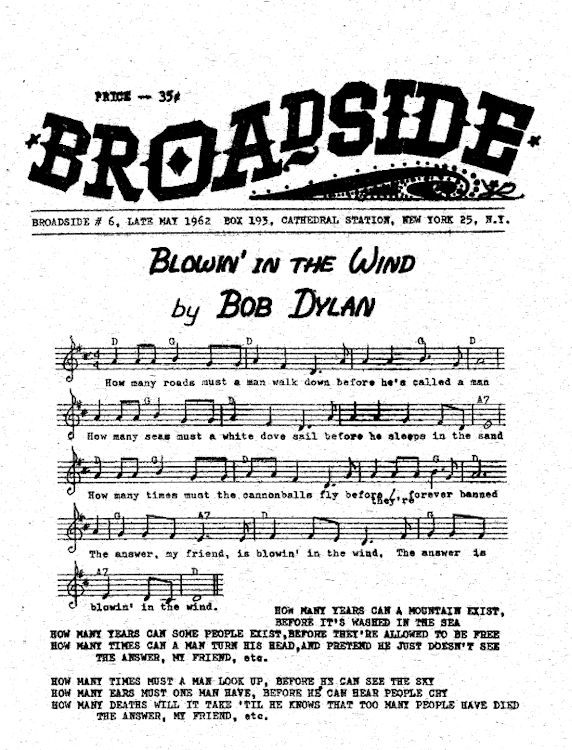 broadside magazine 6 Bob Dylan cover story