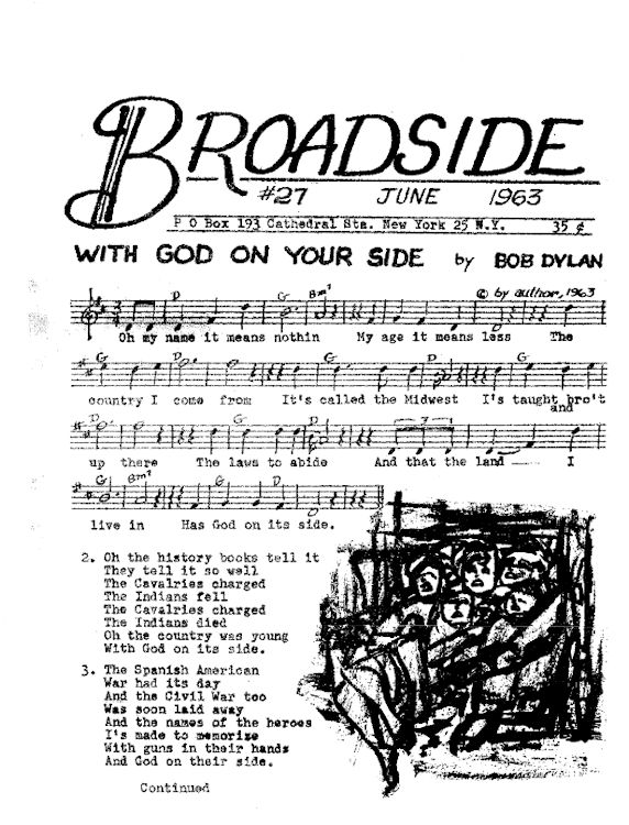 broadside magazine 27 Bob Dylan cover story