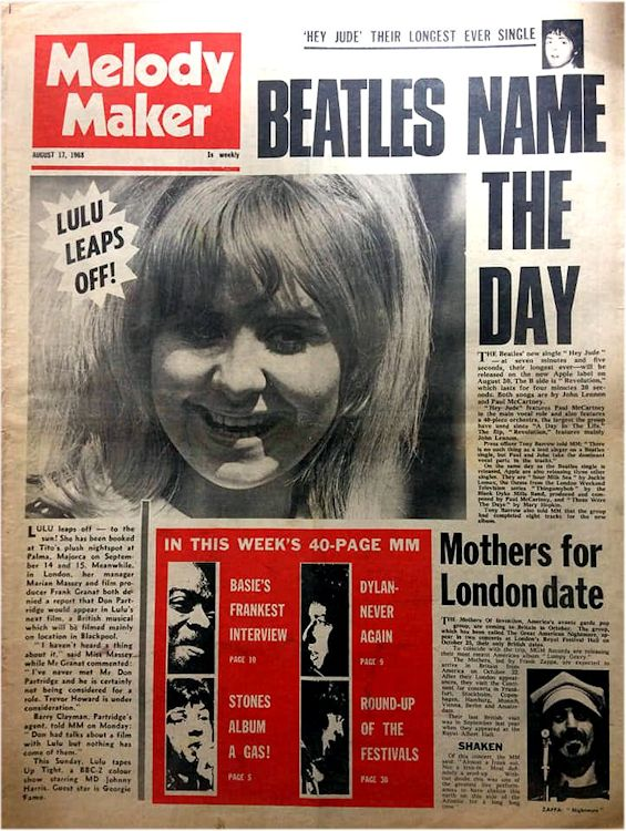 Melody Maker 17 August 1968 Bob Dylan cover story