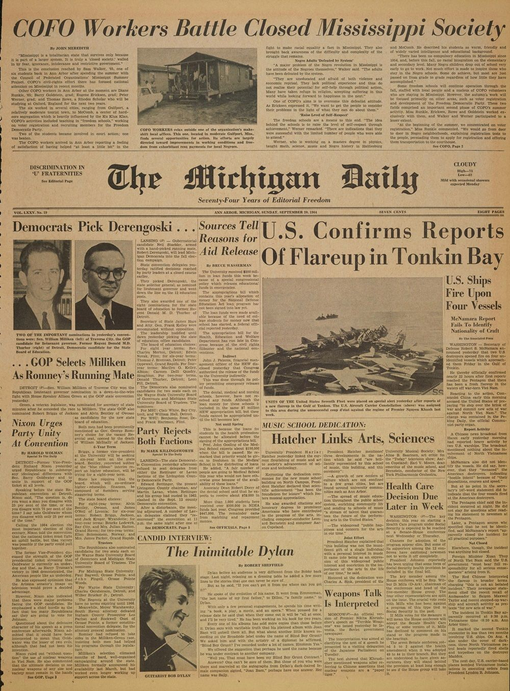 the Michigan daily 1964 Bob Dylan cover story