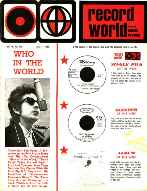 record world 17 April 1965 magazine Bob Dylan cover story