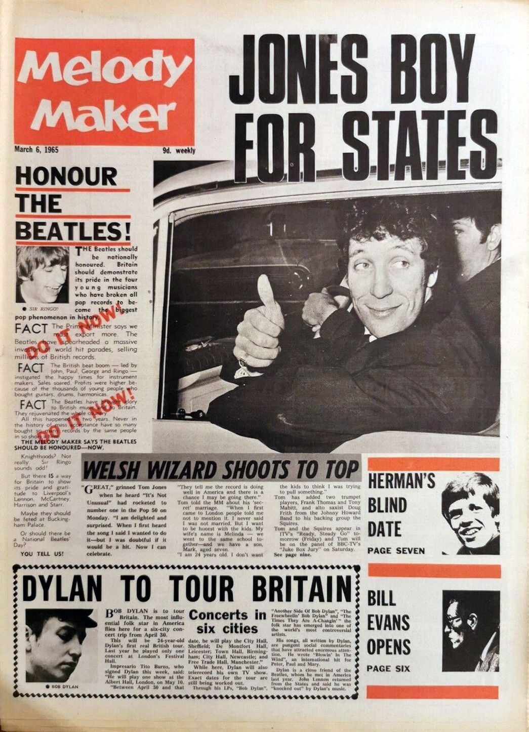 Melody Maker 6 March 1965 Bob Dylan cover story