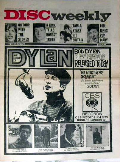 disc weekly 1965 03 magazine Bob Dylan cover story