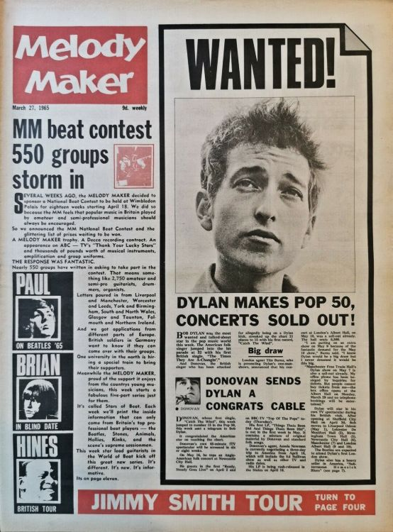 Melody Maker 27 March 1965 Bob Dylan cover story