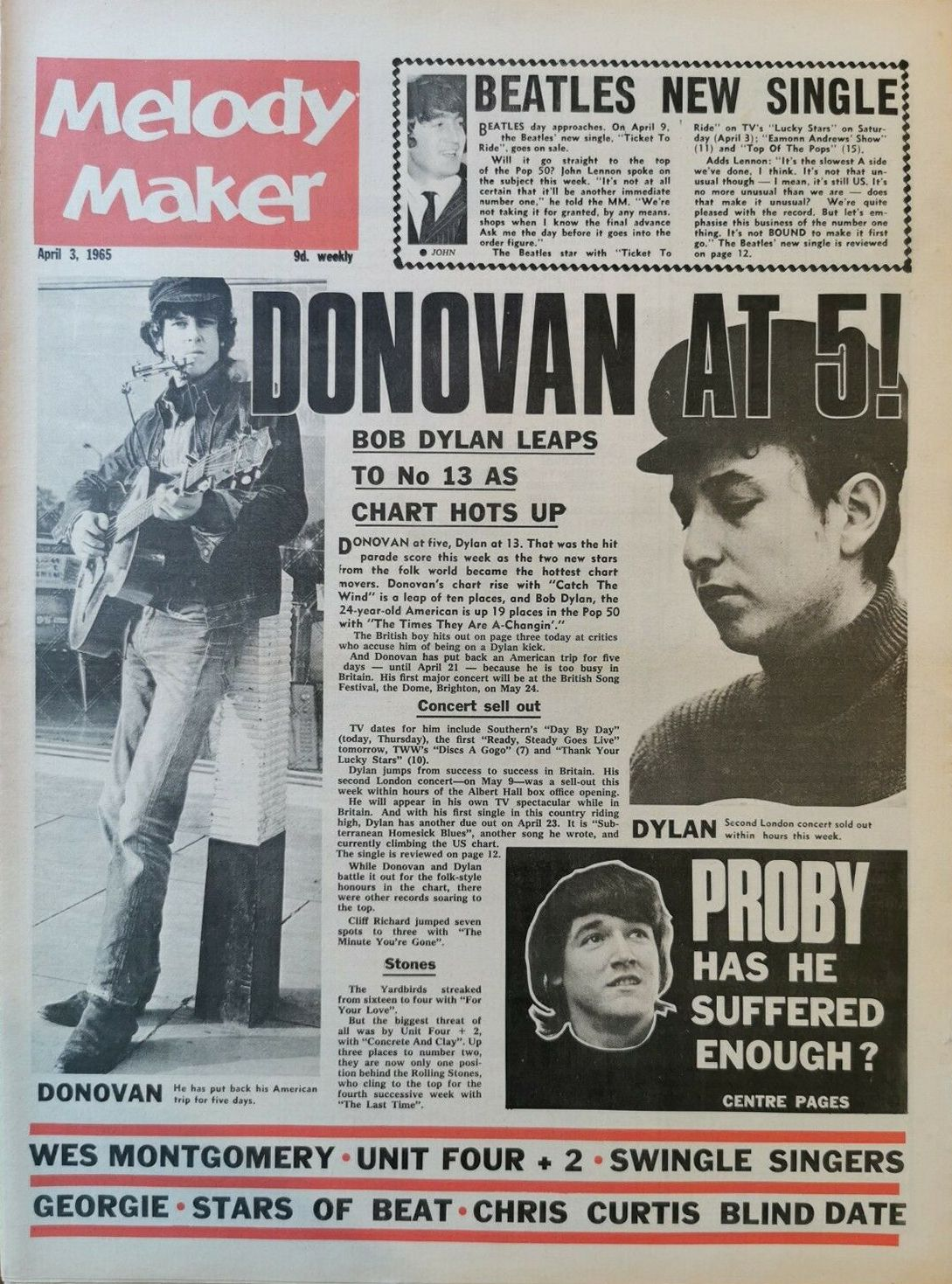Melody Maker 4 April 1965 Bob Dylan cover story