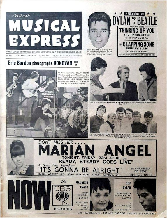 New Musical Express Bob Dylan cover story 23 April 1965