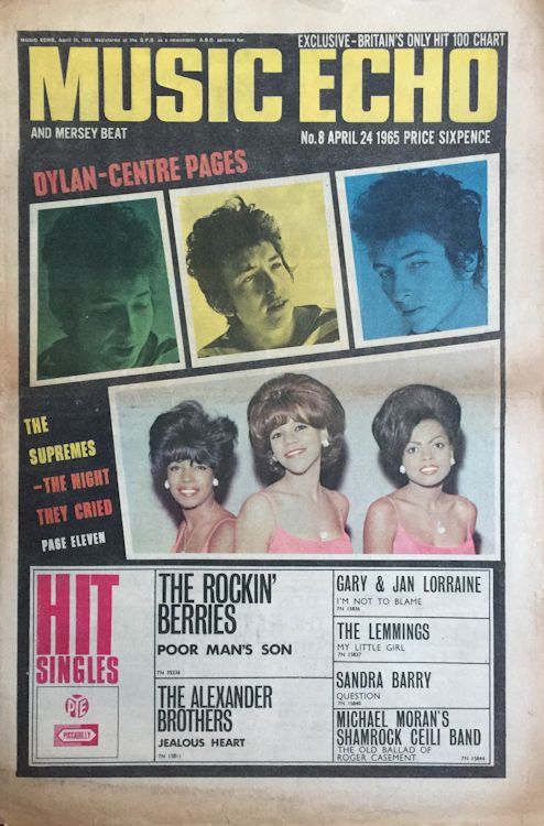 music echo 24 April 1965 magazine Bob Dylan cover story