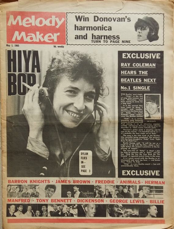 Melody Maker 1st May 1965 Bob Dylan cover story