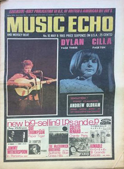 music echo 8 May 1965 magazine Bob Dylan cover story