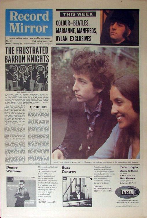 record mirror magazine 8 May 1965 Bob Dylan cover story