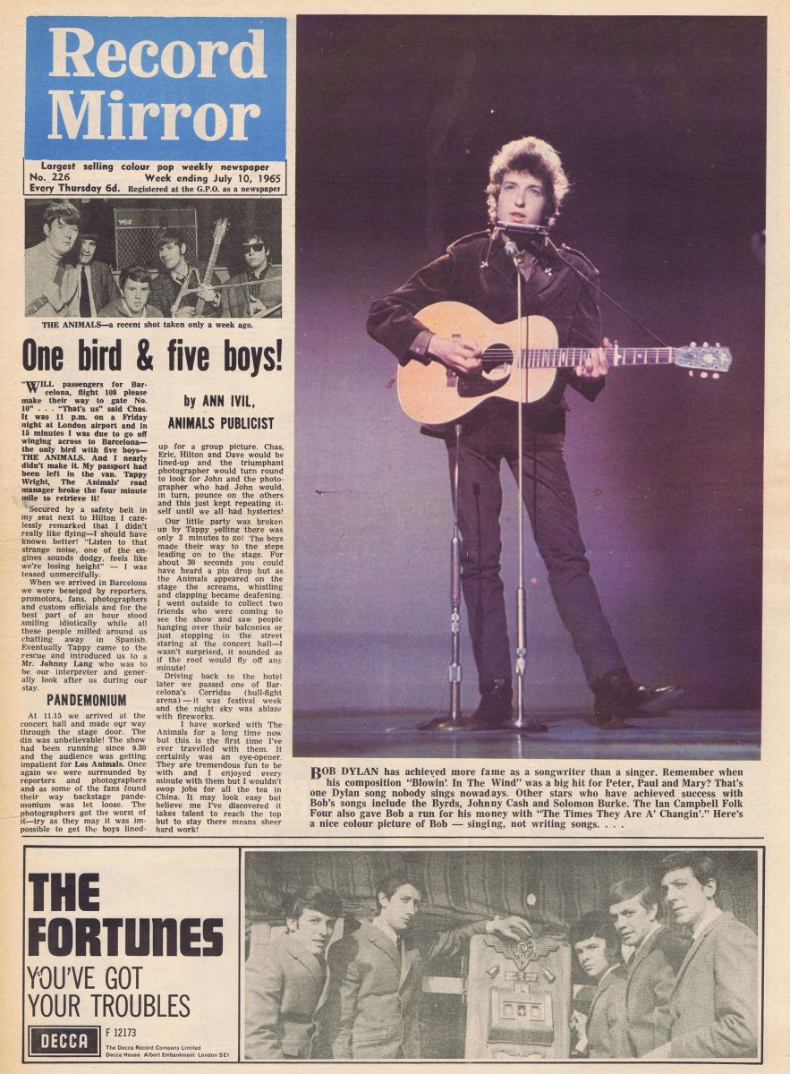 record mirror magazine 10 July 1965 Bob Dylan cover story