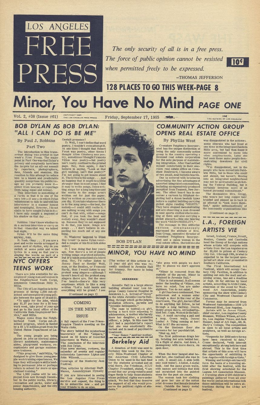 los angeles free press #62 1965 09 24 magazine Bob Dylan cover story