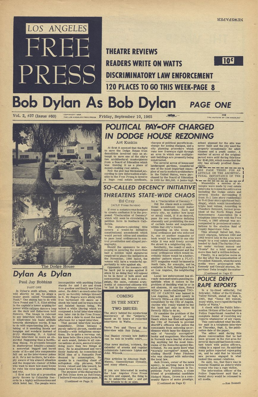 los angeles free press #60 1965 09 10 magazine Bob Dylan cover story