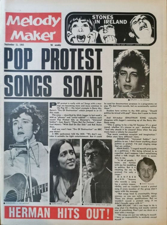 Melody Maker 11 September 1965 Bob Dylan cover story