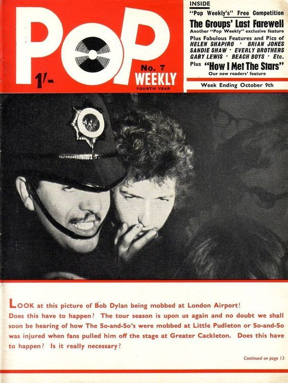 pop weekly 1965 October magazine Bob Dylan cover story