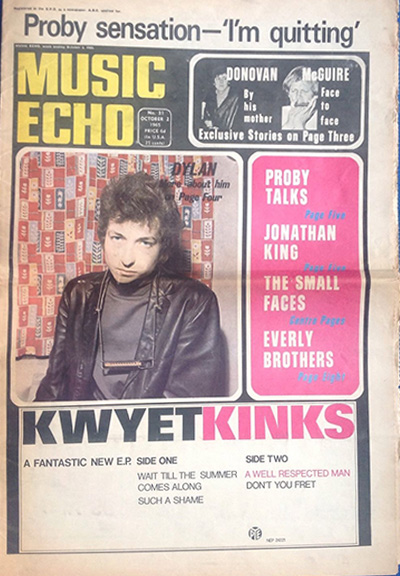 music echo 2 October 1965 magazine Bob Dylan cover story