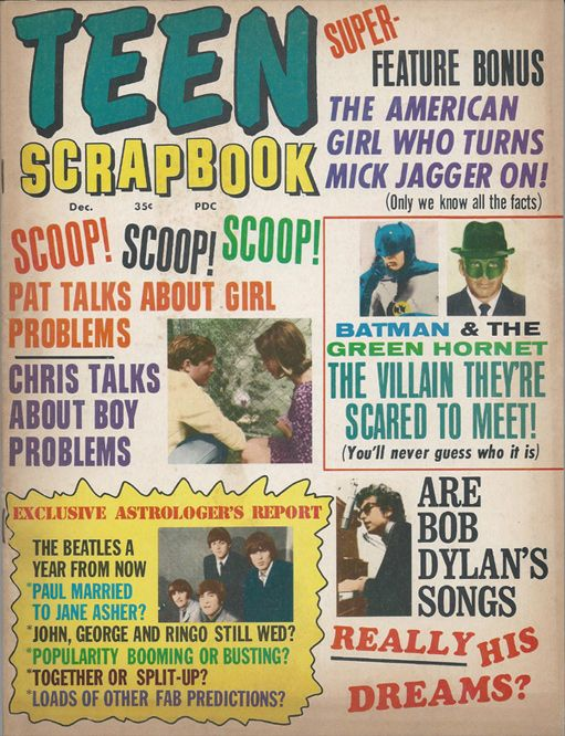 teen scrapbook December 1966 magazine Bob Dylan cover story