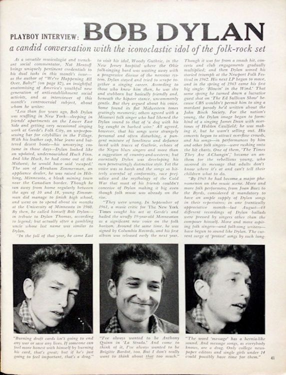 Playboy March 1966 with Dylan interview