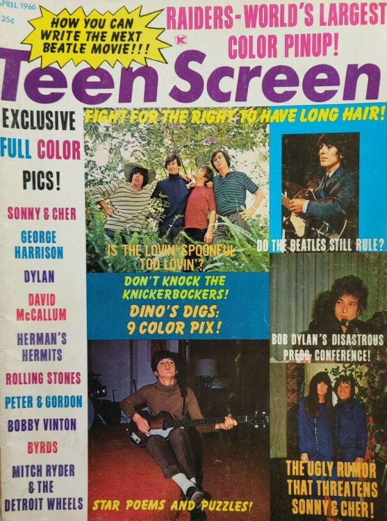 teen screen magazine Bob Dylan cover story