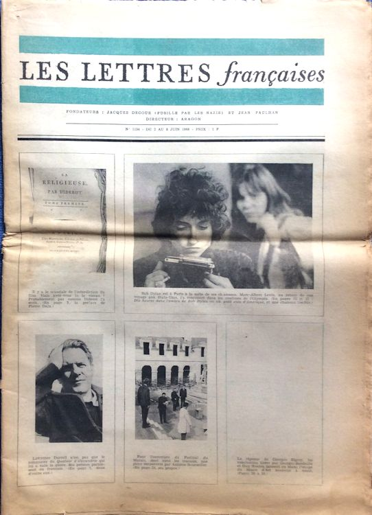 les lettres francaises magazine Bob Dylan cover story