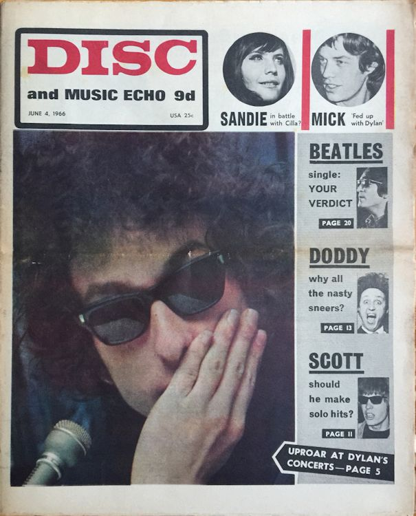 disc and music echo 1966 magazine Bob Dylan cover story