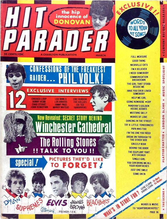 hit parader 1966 11 magazine Bob Dylan cover story