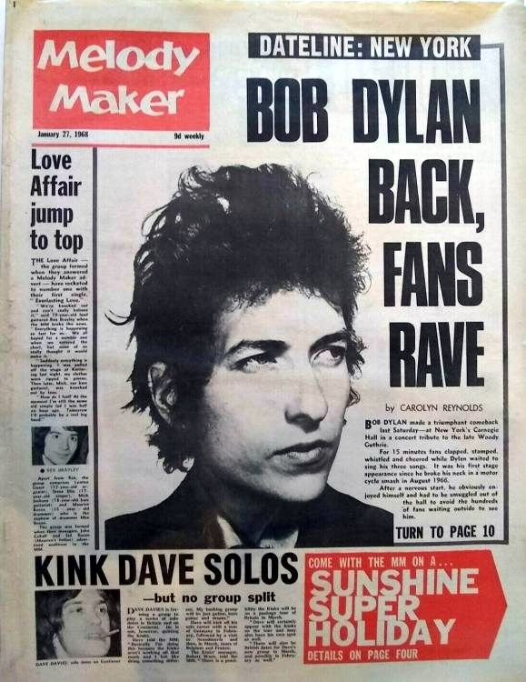 Melody Maker 27 April 1968 </p>Bob Dylan cover story