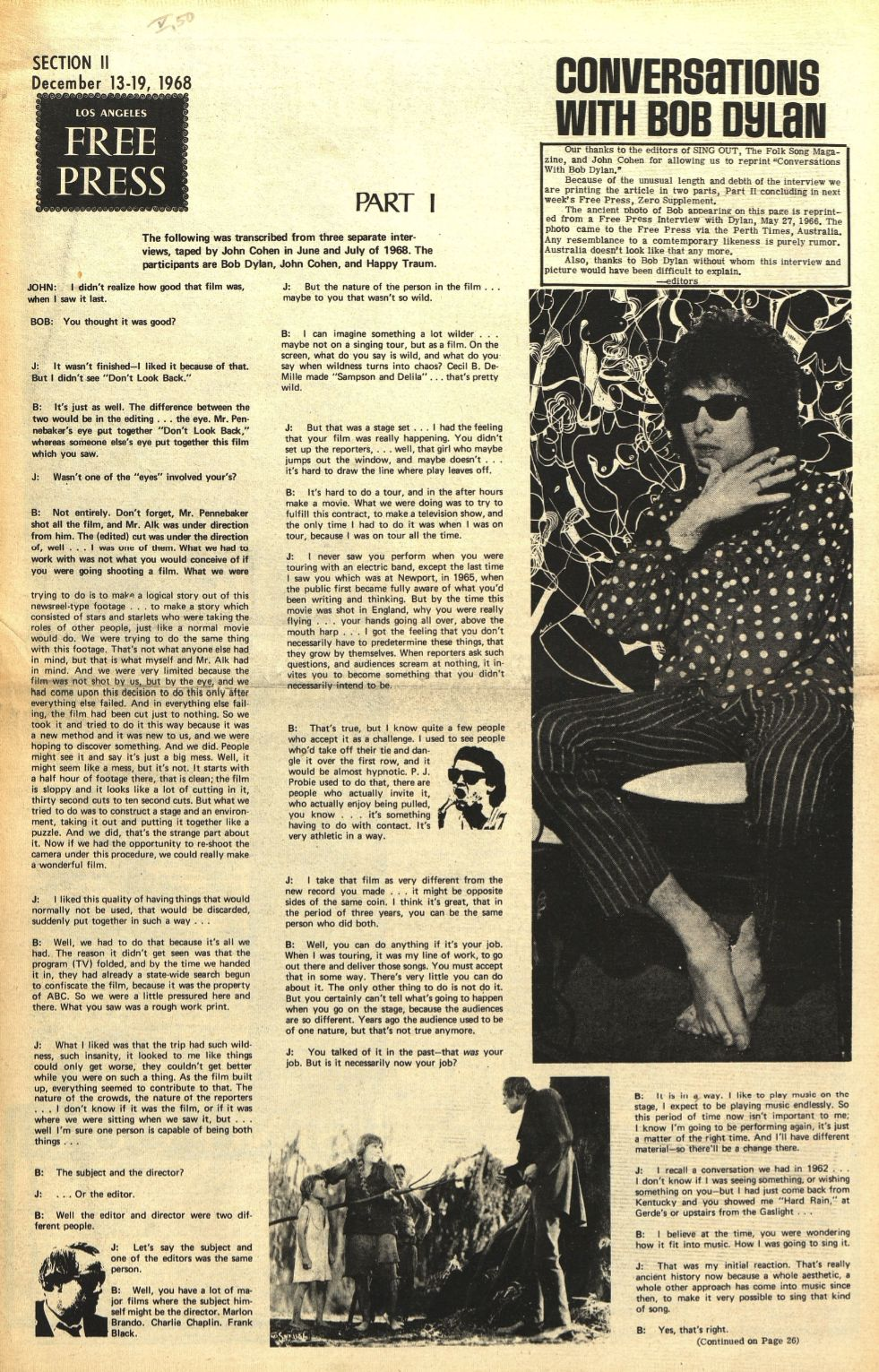los angeles free press 13 Dec 1968 magazine Bob Dylan cover story